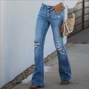 NWT High Rise Distressed Denim Jeans Bell Bottom